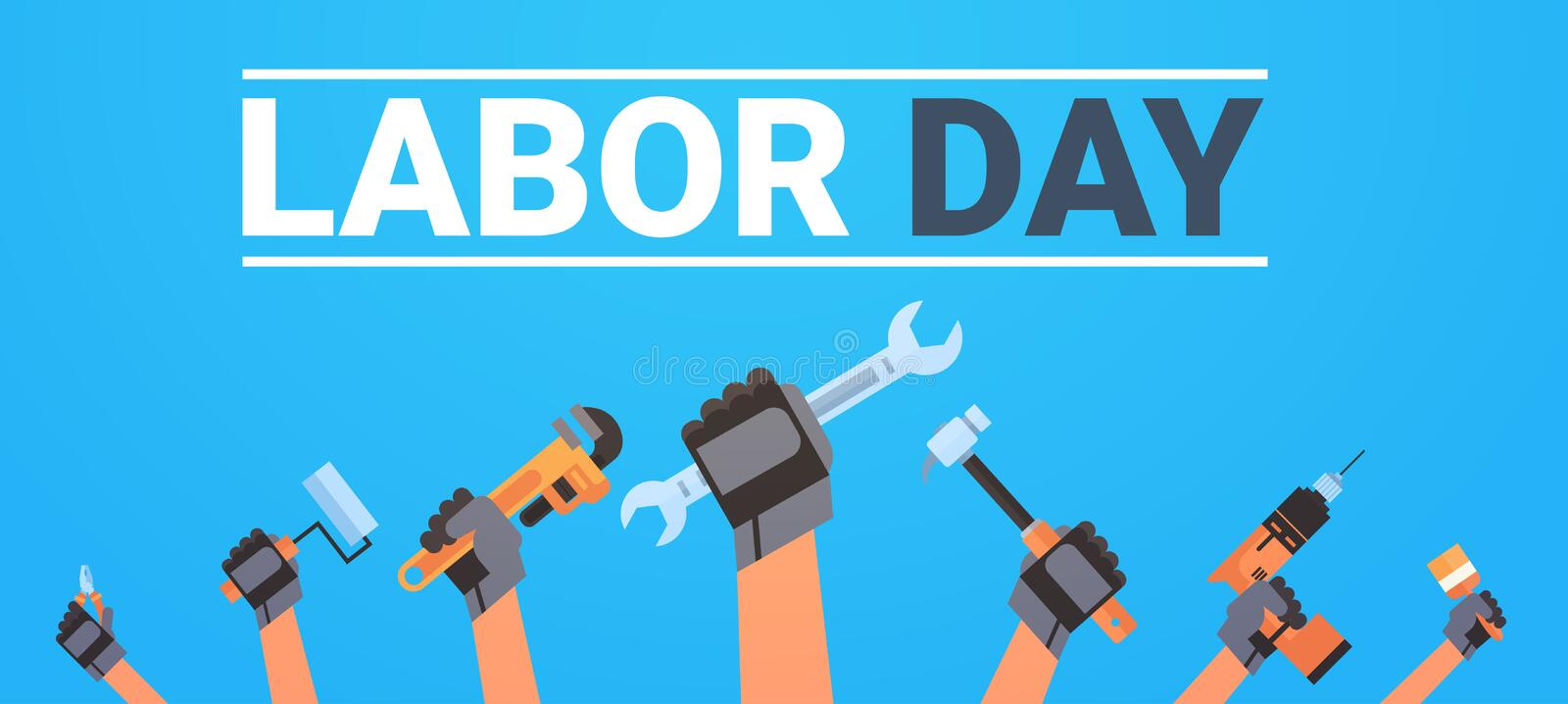 Labor Day Poster With Hands Holding Different Instruments Background Workers Holiday Banner Design stock illustration