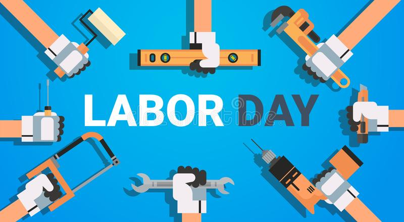 Labor Day Poster With Instruments Background Workers Holiday Banner Design royalty free illustration