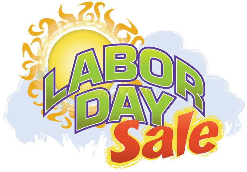 Labor Day Sale. Announce that Labor Day Sale with this fun, retro-modern logo type design, useful in a variety of applications: banner, magazine splash page royalty free illustration