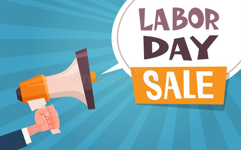 Labor Day Sale Advertising Poster With Hand Holding Megaphone 1 May Discount Concept royalty free illustration