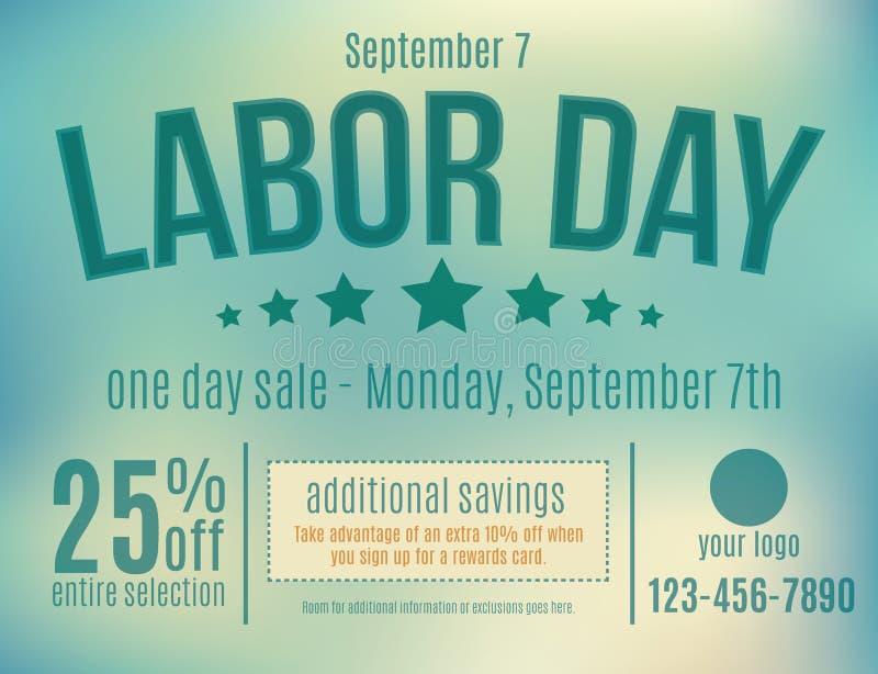 Labor Day Sale Postcard. Customizable Labor Day sale postcard advertisement royalty free illustration