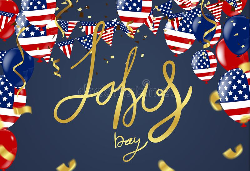 Labor day sale promotion advertising banner template. American l. Abor day wallpaper.voucher discount stock illustration