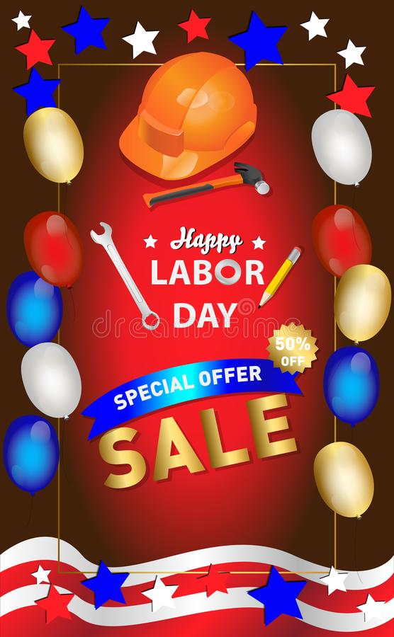 Labor day sale promotion advertising banner template decor with American flag balloons design .American labor day wallpaper.vouche vector illustration