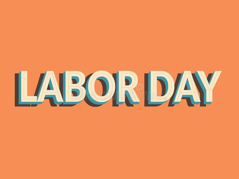 Labor day simple vector design. text labor day with shadow isolated on vintage orange color, old school style. royalty free stock images