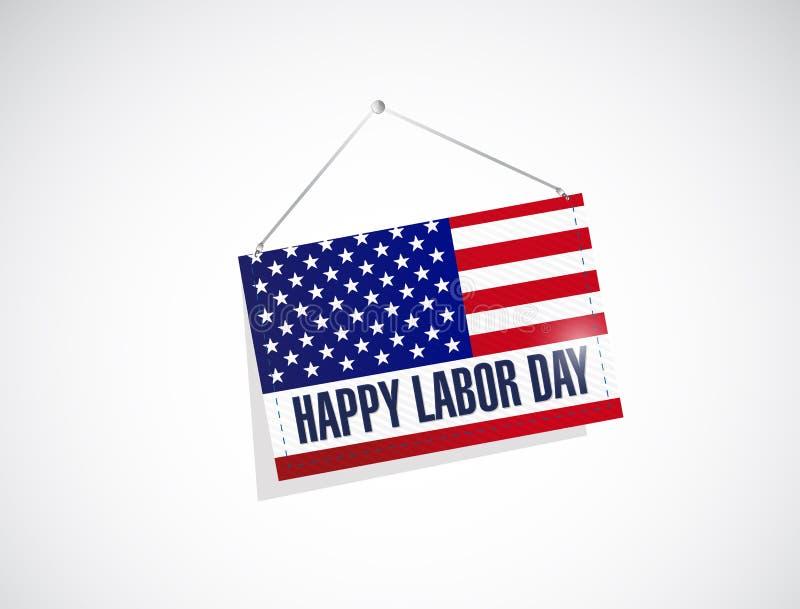 labor day us hanging flag illustration stock illustration