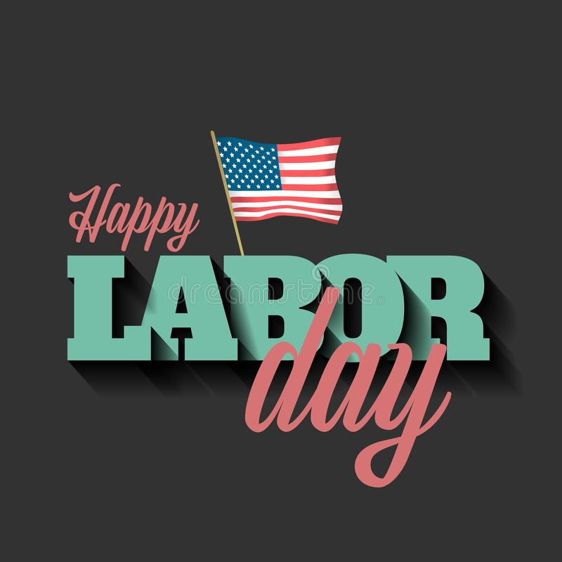 Labor day vector banner with American flag stock illustration