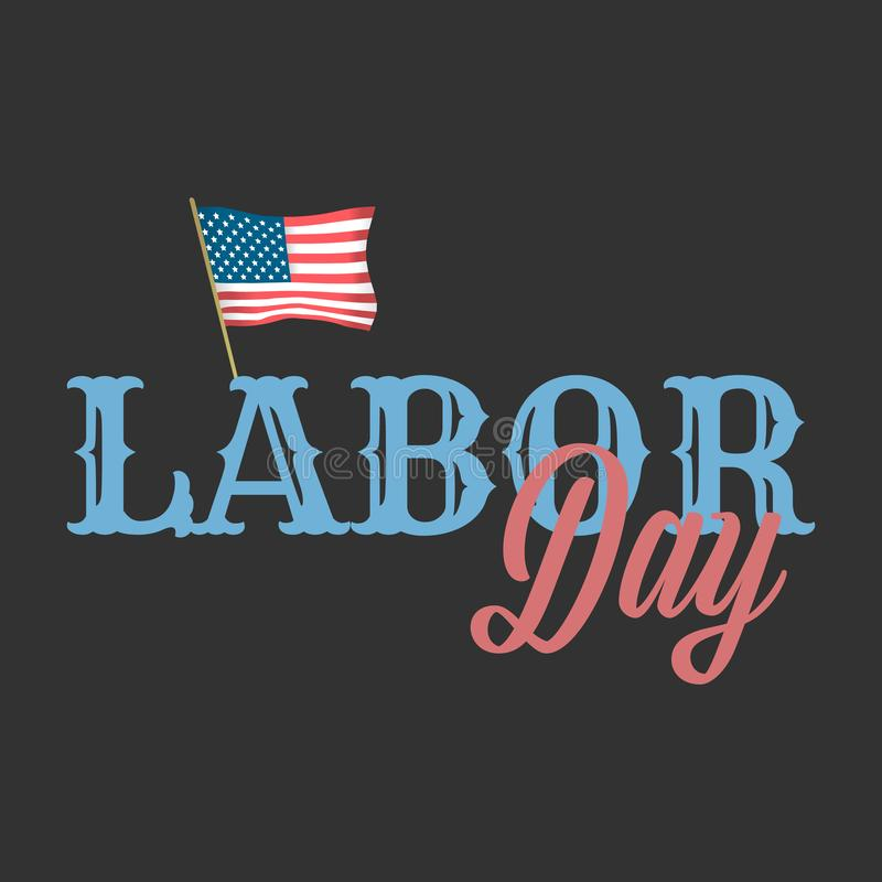 Labor day vector banner with American flag vector illustration