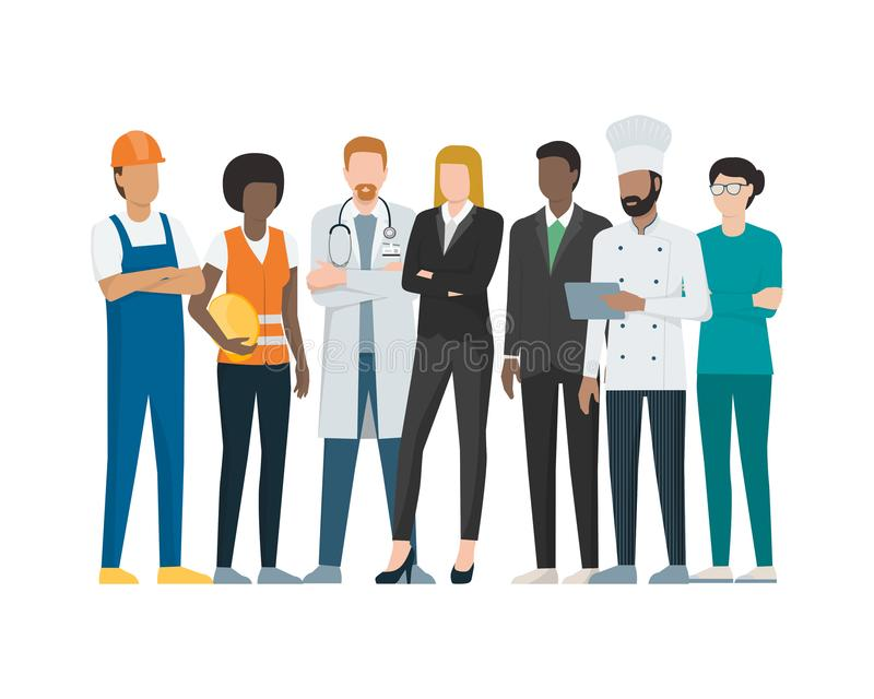 Labor day: workers posing together. Different professional workers standing together during labor day on white background stock illustration