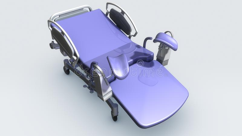Labor and delivery tables. That is composed by the main one and the assistant one. The main delivery bed adopts hydraulic pressure step to rise and down vector illustration