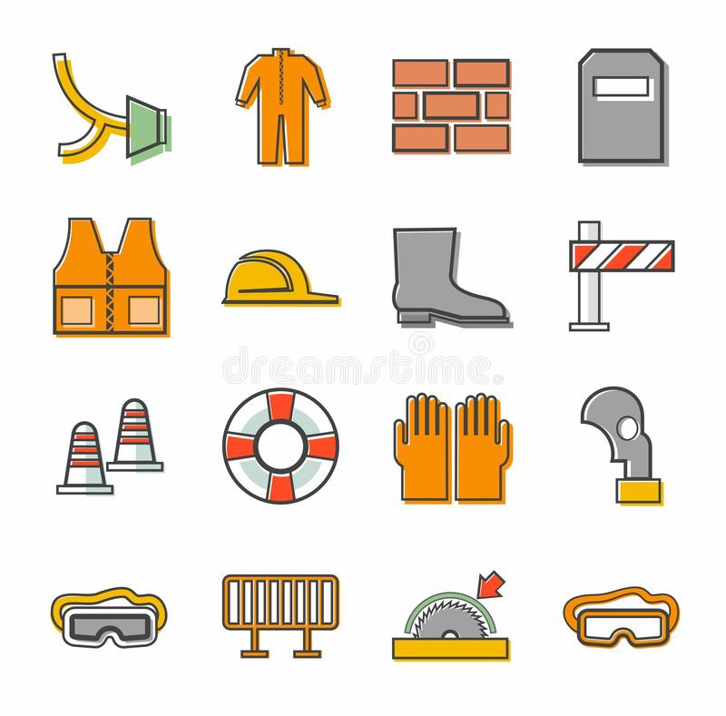 Labor protection, contour icons, colored. royalty free illustration