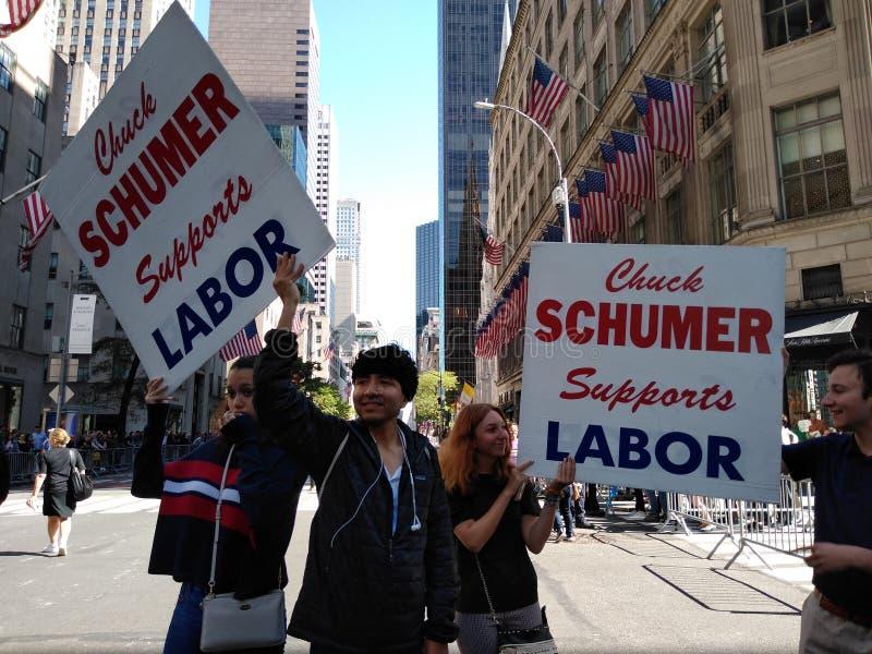 Labor Unions, Labor Day Parade, US Senator Chuck Schumer, American Politics, NYC, NY, USA royalty free stock image