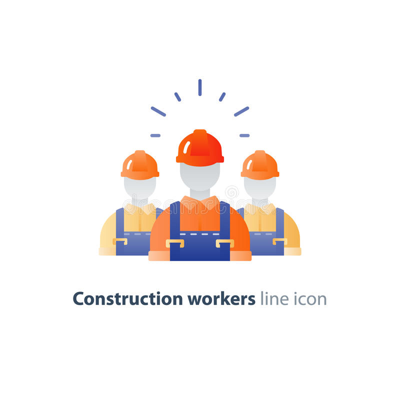 Labor workforce, construction workers group in helmet, three builders vector illustration