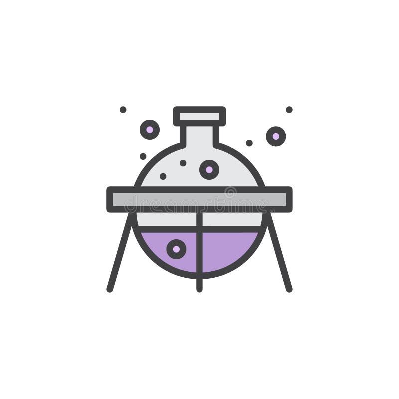 Laborancka kolba z chemicznym fluidem wypełniał kontur ikonę royalty ilustracja