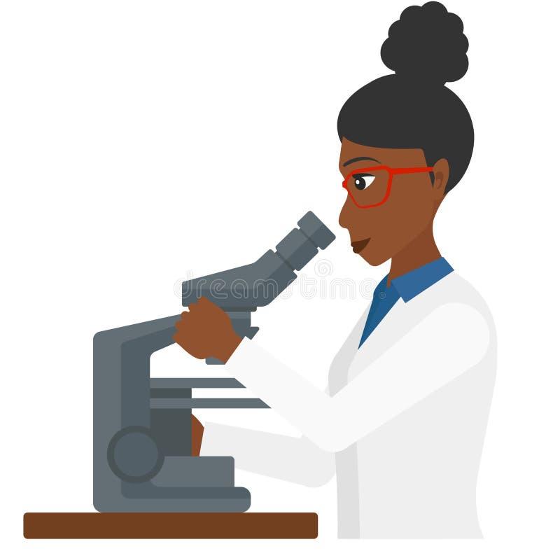 Laborancki asystent z mikroskopem royalty ilustracja