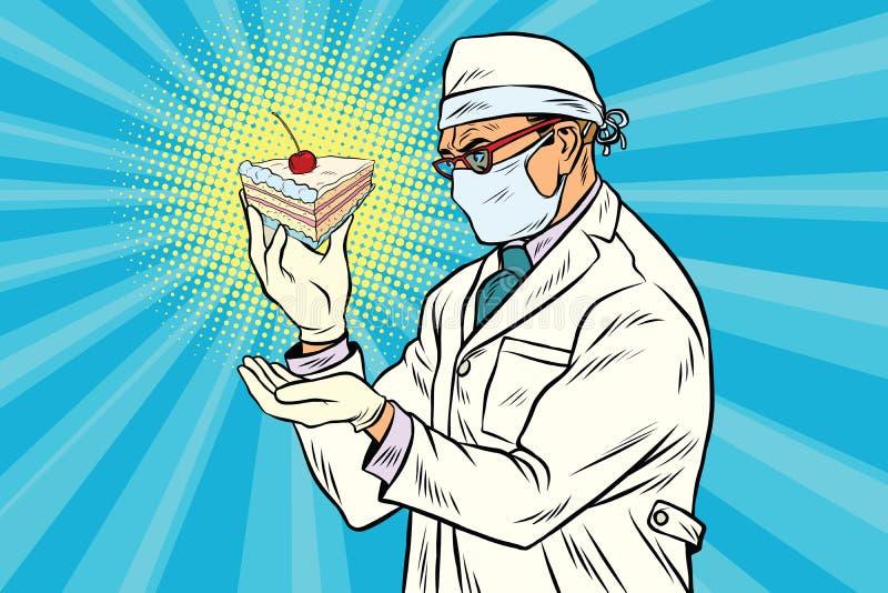 Laborancki naukowiec analizuje kawałek tort ilustracja wektor