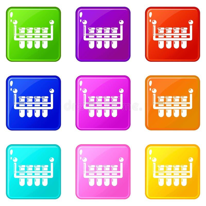 Laboranckie kolbiaste ikony ustawiaj? 9 kolor?w kolekcj? royalty ilustracja