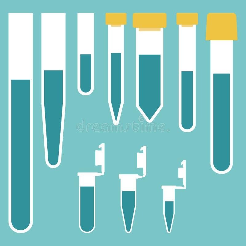 Laboranckie tubki różne pojemność ilustracja wektor