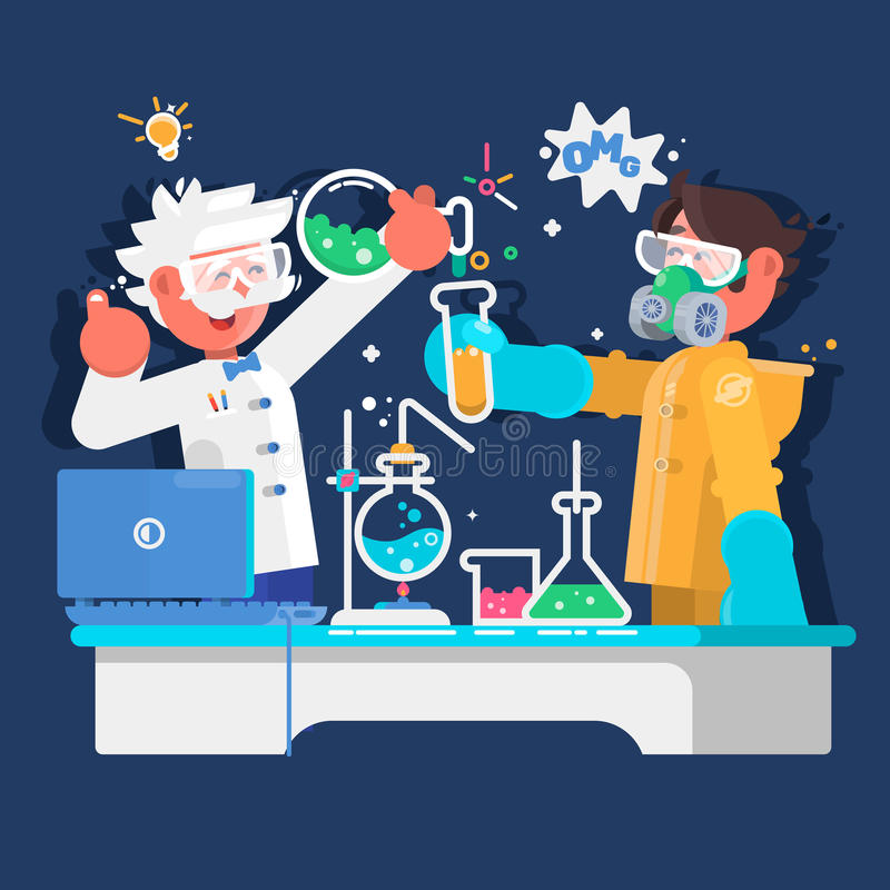 Laboranter arbetar i vetenskaplig medicinsk kemikalie eller biologiskt laboratorium också vektor för coreldrawillustration stock illustrationer