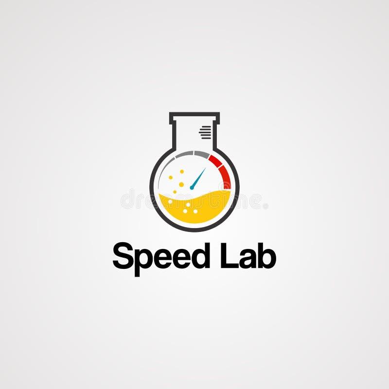 Laboratório da velocidade com água da gota e medidor do acelerador, elemento, ícone, e molde para a empresa ilustração royalty free
