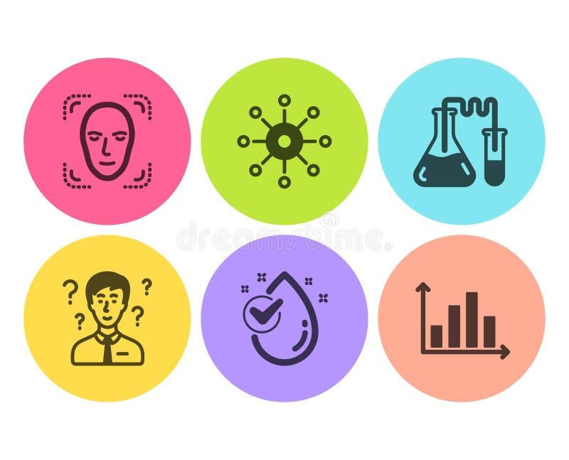Laboratório de química, gota da água e de consultante do apoio grupo dos ícones Vetor ilustração royalty free