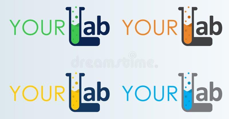Laboratório Logo Template do vetor Ajuste do logotype abstrato do laboratório da cor Laboratório, produto químico, ícone do exame ilustração stock