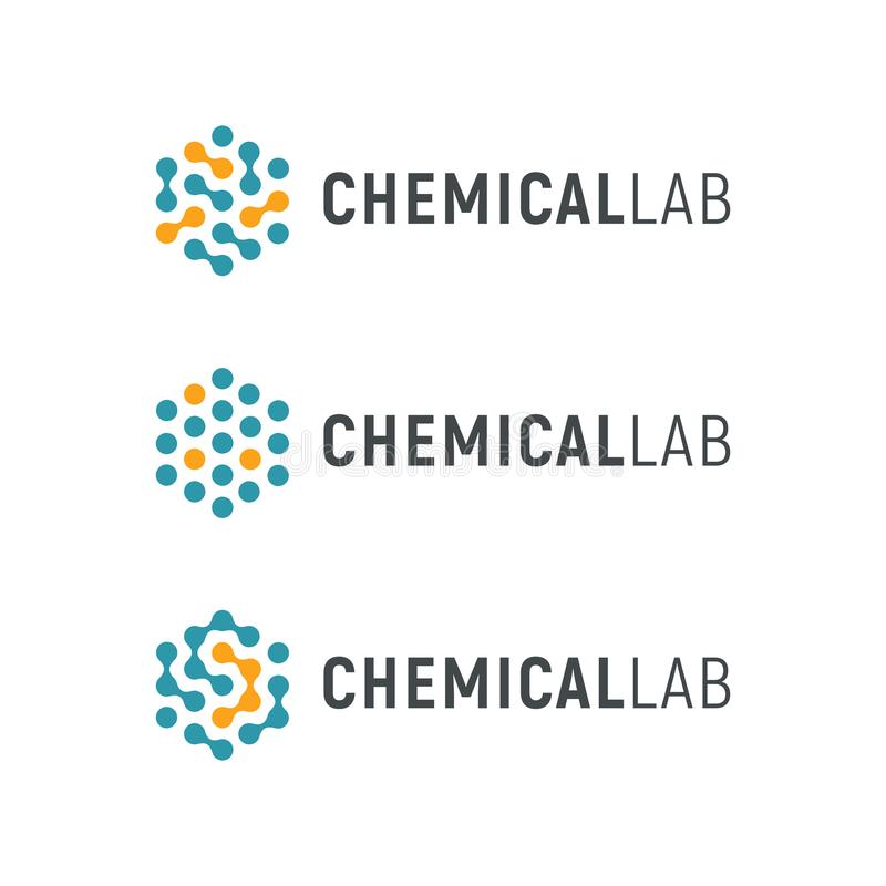 Laboratório químico Logo Template Logotype abstrato do vetor do hexágono Logotipos da tecnologia da olá!-tecnologia da biologia E ilustração do vetor