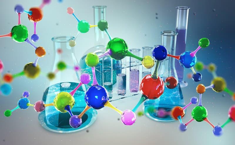 Laborat?rio qu?mico Pesquisa molecular na ci?ncia moderna ilustração do vetor