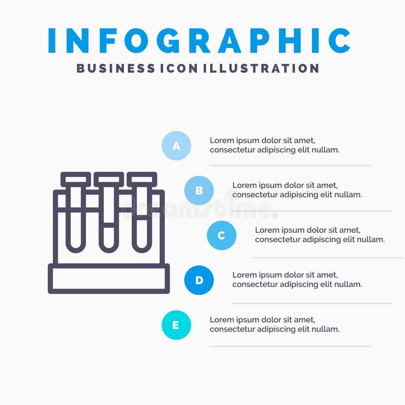 Laboratoire, baquets, essai, ligne icône d'éducation avec le fond d'infographics de présentation de 5 étapes illustration libre de droits