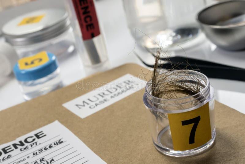 Laboratoire criminalistique, analyse de cheveux photo stock