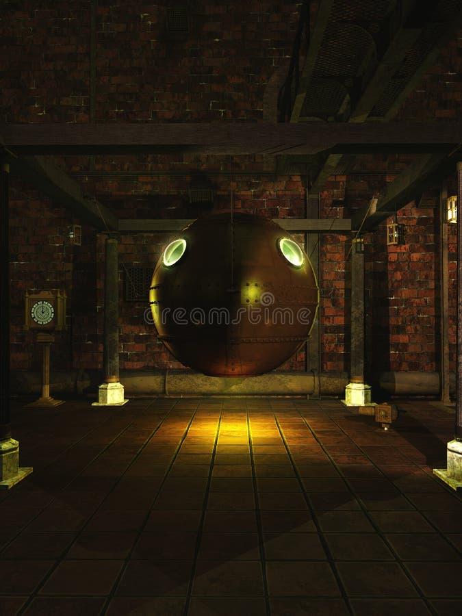 Laboratoire de Steampunk avec la sphère mystérieuse illustration libre de droits