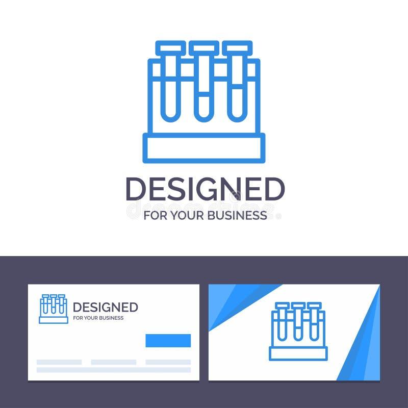 Laboratoire de visite de calibre créatif de carte de visite professionnelle et de logo, baquets, essai, illustration de vecteur d illustration de vecteur