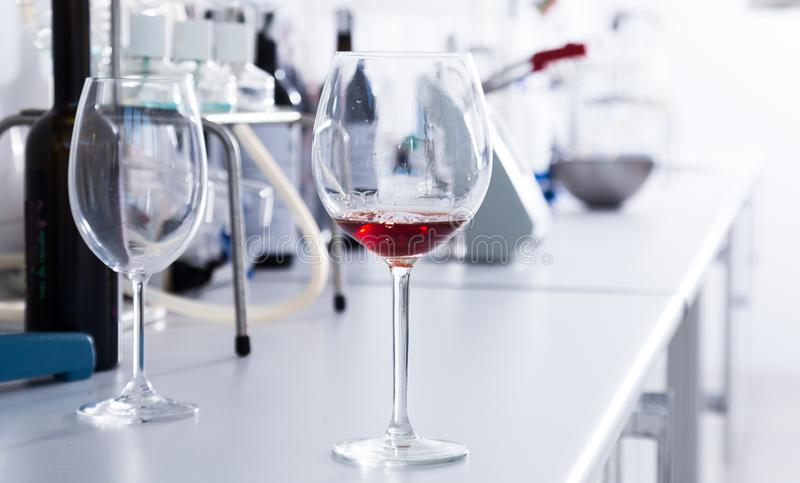 Laboratoire moderne d'établissement vinicole Vérification de l'acidité du vin et de l'organo photos libres de droits
