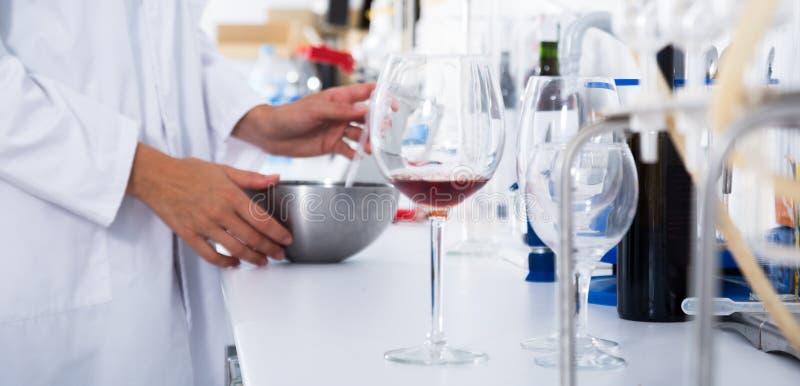 Laboratoire moderne d'établissement vinicole Vérification de l'acidité du vin et de l'organo images stock