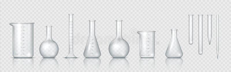 Laboratorieglas Realistisk labbbägare, glaskolv och andra kemiska behållare, 3D mätmedicinsk utrustning stock illustrationer
