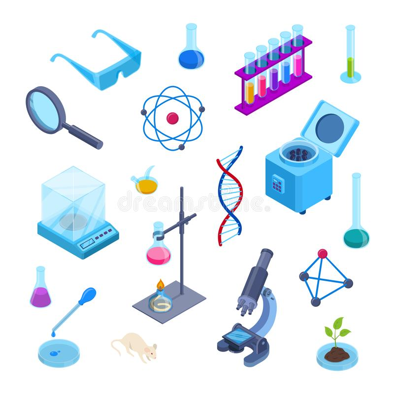 Laboratorio de ciencia, símbolos isométricos del vector 3d de la investigación de la química Sistema plano aislado de los ico ilustración del vector
