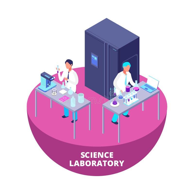 Laboratorio de investigación isométrico del laboratorio de ciencia 3d con vector del equipo y de los científicos de laboratorio ilustración del vector