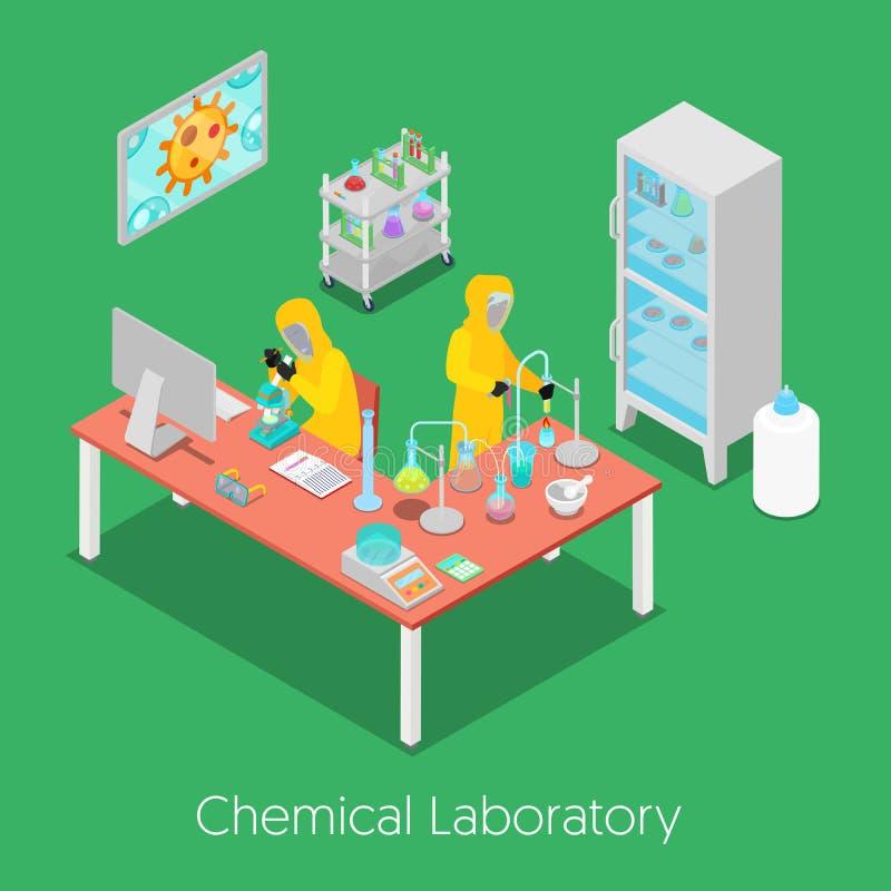 Laboratorio de investigación químico isométrico stock de ilustración