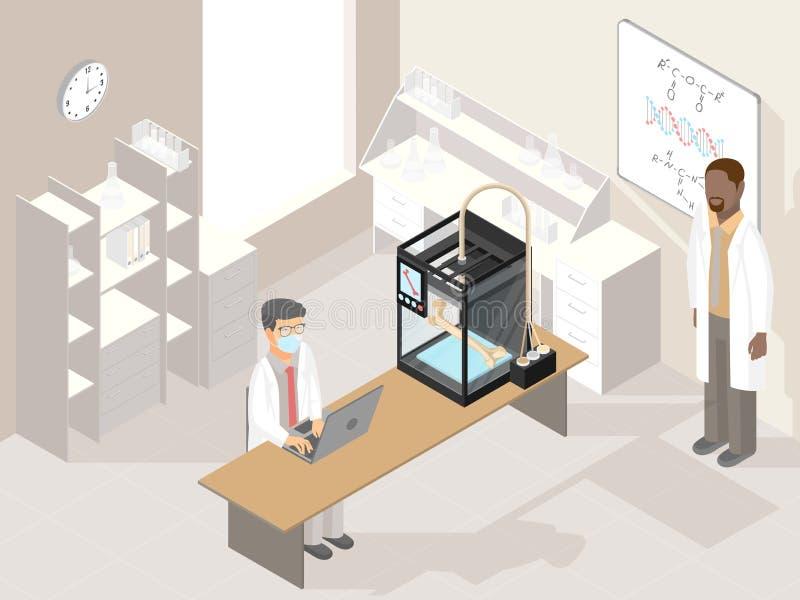 Laboratorio de la clínica con la impresora médica 3D y los doctores profesionales ilustración del vector