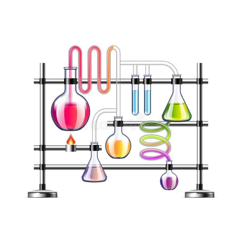 Laboratorio de química aislado en el fondo blanco stock de ilustración