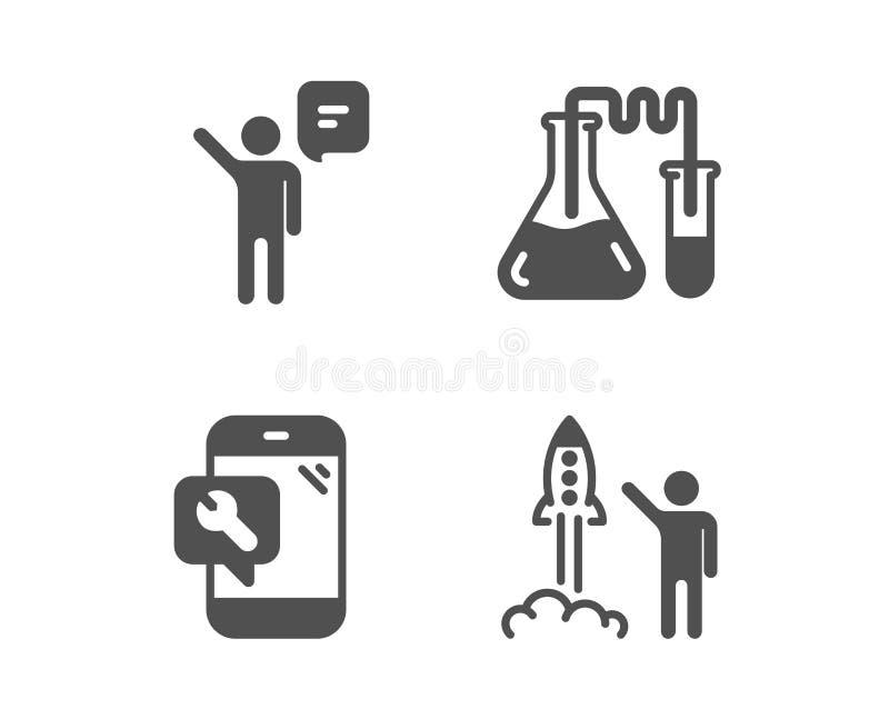 Laboratorio de química, reparación del teléfono e iconos del agente Muestra del proyecto del lanzamiento Vector libre illustration