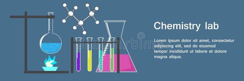 Laboratorio di chimica dell'insegna con l'illustrazione di vettore dei becher e delle boccette illustrazione di stock