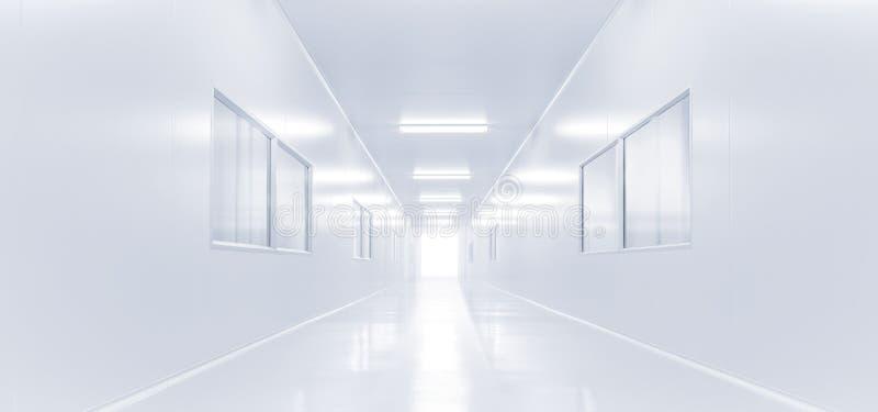 Laboratorio di scienza interno moderno con illuminazione dall'ingresso fotografia stock