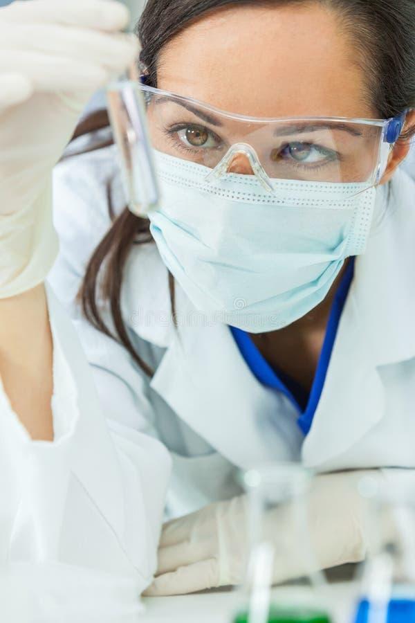 Laboratorio femenino del doctor Test Tube In del científico o de la mujer imágenes de archivo libres de regalías