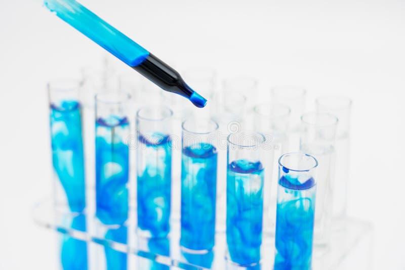 In laboratorio, gli scienziati hanno sintetizzato ed analizzato il composto cadendo il liquido colorato in provette Priorit? bass fotografie stock