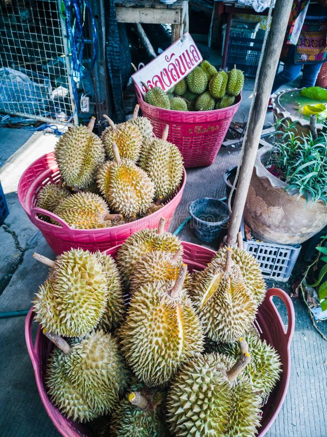 Laboratorio-Lae largo del Durian fresco en mercado fotos de archivo libres de regalías