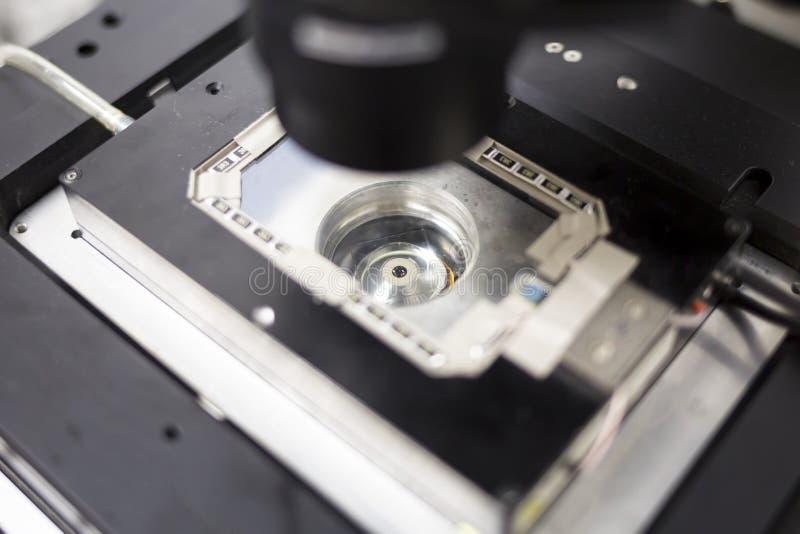 Laboratorio moderno de la microbiología del microscopio imagenes de archivo