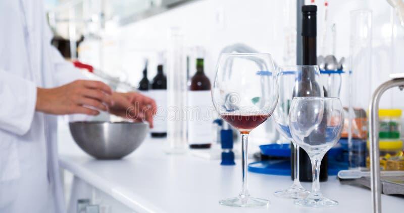 Laboratorio moderno del lagar Comprobación de la acidez del vino y del organo imágenes de archivo libres de regalías