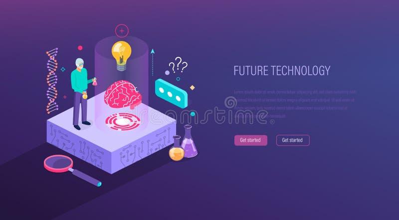 Laboratorio scientifico, ricerca, visualizzazione di DNA, molecole, sistema di intelligenza artificiale illustrazione di stock