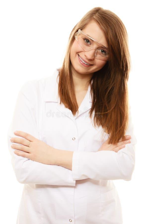 Laboratorium Geïsoleerde chemicusvrouw in beschermende brillenglazen royalty-vrije stock foto