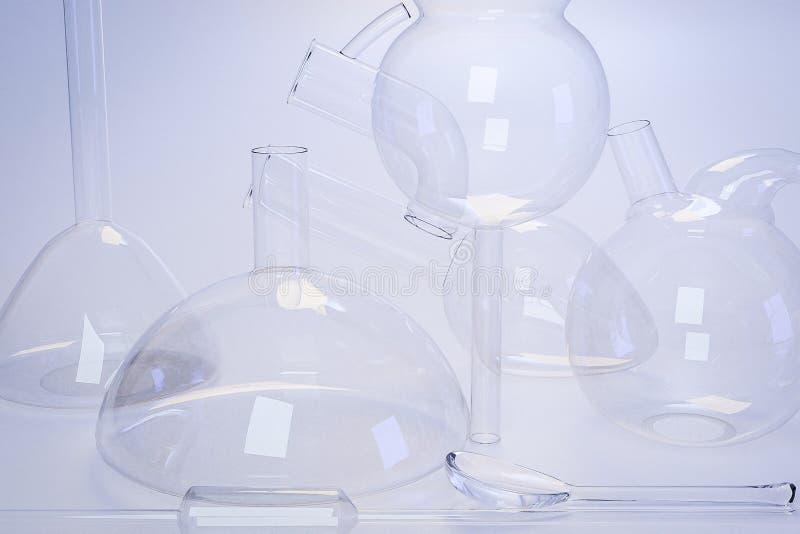 Laboratorium medisch glaswerk van chemieexperimenten royalty-vrije stock fotografie